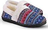 Homitem Women's Slip-On Knit Slippers Memory Foam Slippers Fuzzy Wool-Like Plush Fleece Lined House Shoes Indoor/Outdoor Anti-Skid Rubber Sole Light Blue