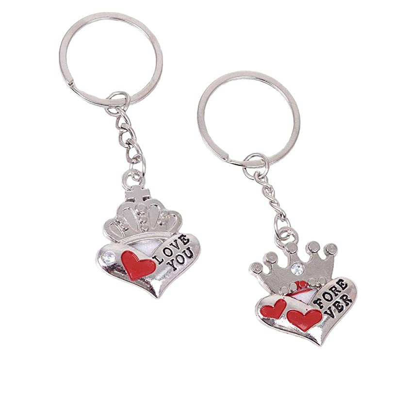 2 PCS Cute Crown Couple Keychain Decor Cool Keyring Pendant Charms Gifts for Teen Boy Girl Best Friends/Collections