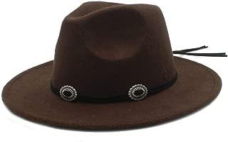 HongJie Hou Men Women Authentic Winter Wool Fedora Hat Pop Panama Jazz Hat Wide Brim Fascinator Church Hat Size 56-58CM