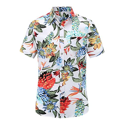 Herren Sommer Hawaii Polo Shirt Kurzarm Slim Fit Casual Flora gedruckt Strand Button-Down-Shirts,White,S