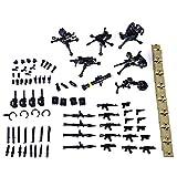 WWEI Juego de 72 armas militares WW2 para figuras de soldados, equipo de policía, bloques de construcción compatibles con Lego