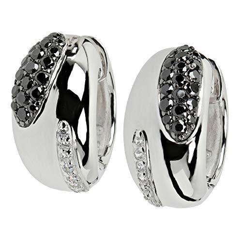 VIVENTY Damen-Ohrringe Klapp-Creolen aus Silber 925 mit Zirkonia weiß schwarz