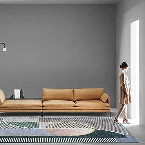 Outdoor-QJ Alfombra Moderna Grande Antideslizante Fácil de Limpiar Diseño Decoración del hogar Líneas geométricas Verdes Grises 80x160CM