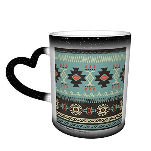 Taza de café mágica cambiante, manta nativa personalizada, de cerámica, sensible al calor, taza de café, taza de leche y regalo de cumpleaños