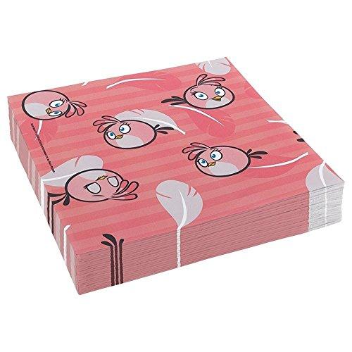 amscan Papierservietten 33cm, Angry Birds, Pink