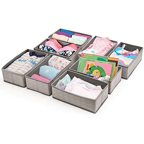 BeigeSwan Foldable Fabric Drawer Divider [Set of 8], Storage Bin, Closet Storage Organizer Boxes – 12 x 7 x 4 inches (Gray)