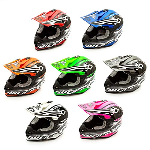 Wulf White Helmet Sceptre Adults Mx Quad ACU Gold Approved Supercross Motocross MTB Motorcycle S 55-56 CM