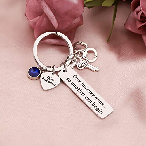 Product Image 5: HOLLP Police Retirement Gifts Police Officer Retired Keychain One Journey End.So Another Can Begin Keychain Police Jewelry Gift for Police Officer (Keychain)