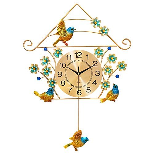 YZJL Stilles Wanduhr Startseite Wohnzimmer Dekorative Uhr Vogel-Wand-Quarz-Taktgeber