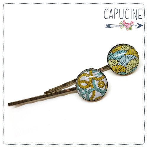 2 pinces bronze cabochons verre cercles - pinces cheveux cabochon - Barrettes cheveux illustrées - Cercles & Escargots