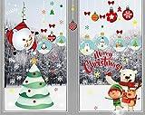 heekpek Noël Autocollants Fenêtre Noel Sticker Fenetre Noel Stickers Vitrine Noel Merry Christmas Stickers Noel Decoration Bonhomme de Neige Sticker Père Noël À l'envers