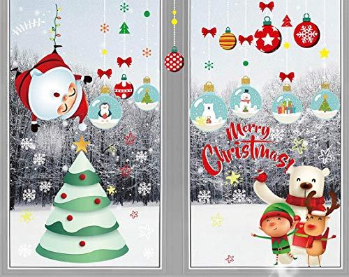 heekpek 12 Hojas Pegatinas Navidad Ventanas Pegatinas Navidad Puerta Travieso Colgando Santa...