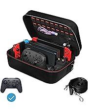 iVoler etui na Nintendo Switch, przenośna podróż cała ochronna twarda torba miękka podszewka 18 gier na konsolę przełącznika Pro kontroler i akcesoria czarny