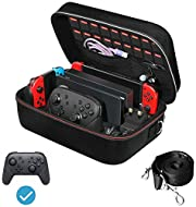 Deluxe Travel Carrying Case: Specially designed to make your whole Nintendo Switch system even more portable & travel friendly. Comfortable handle strap is ideal for carrying. Large storage is suitable to take all the Nintendo Switch accessories when...