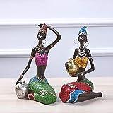 Gedengni 2pcs African Black Figure Sculpture Tribal Lady Figurine Statue Decor Collectible Creative Art Crafts Dolls, 7.5-Inch