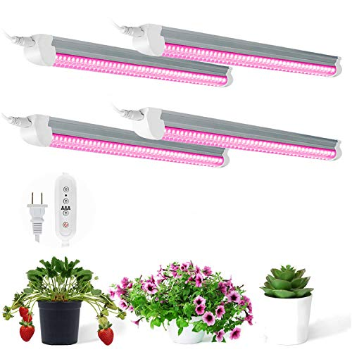 (Pack of 4) SHOPLED Grow Lights, Full Spectrum LED 80W(20W x 4, 440W Equivalent), T8 2FT Integrated Fixture Lamp, Linkable Plug and Play, Indoor Plants Growing Lights