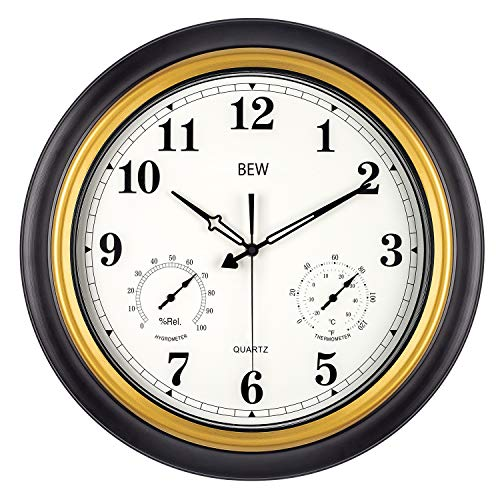 Large Outdoor Clock, Waterproof Wall Clock with Thermometer & Hygrometer Combo, Weather-Resistant Silent Metal Garden Clock for Patio, Pool, Lanai, Fence, Porch, Home (18-Inch, Black Golden)