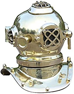 THORINSTRUMENTS (with device) Vintage Steampunk Mini Diving Helmet Marine Collectible Brass Finish Helmet