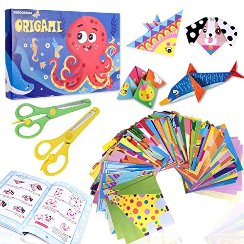 ZXT Kit di Origami,152pcs Origami per Bambini Doppia Faccia Fogli Colorati di 72 Bellissimi Modelli Diversi, con Libretto di Istruzioni di Kit Origami Fai da Te per Bambini