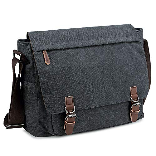 High quality canvas: Durable, sturdy and Practical, well made Vintage style: manly, fashion and Casual. Size: L x W x H =40 x 35 x 13 cm, fits 15.6 inch laptop Well-constructed: Multiple compartments, you can fit a lot of stuff inside. All the school...