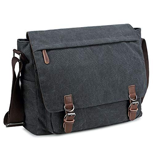 Messenger Bag for Men and Women, Retro Canvas Shoulder Bag Satchel For College fit 15.6 Inch Laptop (Black)