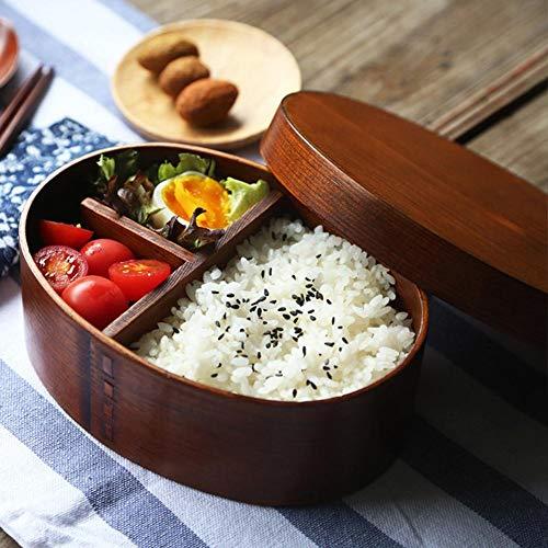 Liteness Fiambrera Japonesa de Madera Ovalada de Bento Box , Contenedor portátil de Alimentos con Correas de Sushi.