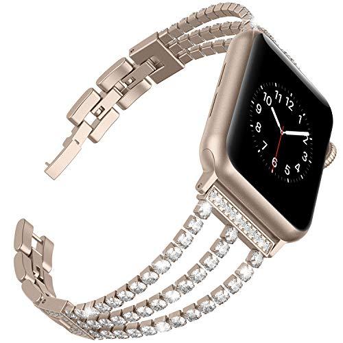 Ownaco - Cinturino di ricambio per Apple Watch 5, 38 mm, 42 mm, in acciaio inox con diamanti sintetici, da donna, per iWatch serie 4/3/2/1