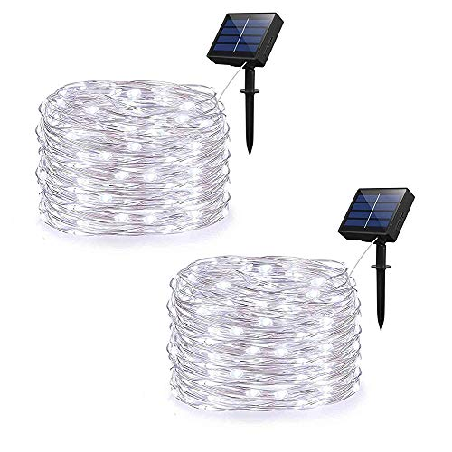 Weepong Solar String Lights, Outdoor Solar Rope Lights with 100 LEDs 33ft Silver Copper Wire 8 Mode Waterproof Solar Starry Lights for Wedding Garden Home Party Patio Lawn Trees (Cold White 2 Pack)