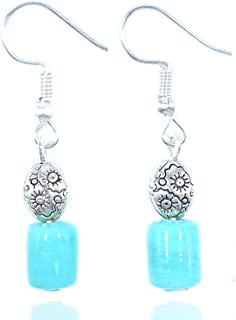 Aashya Mayro Handmade Glossy Shiny Sky / Ocean Color Stone, Flower Design Metal Bead, Silver Plated Earrings For Party, Be...