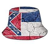 Flag State Mississippi Bucket Sun Hat para Hombres Mujeres -Gorra de Pescador de Verano Empacable de protección para Pesca, Safari, Paseos en Bote en la Playa Negro