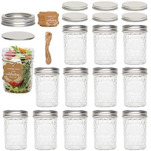 ZGoEC - Set di 12 barattoli per conserve con coperchio, 350 ml, con etichetta regalo in carta e 6 coperchi extra, ideali per marmellate, miele, bomboniere di matrimonio, per la doccia, per alimenti