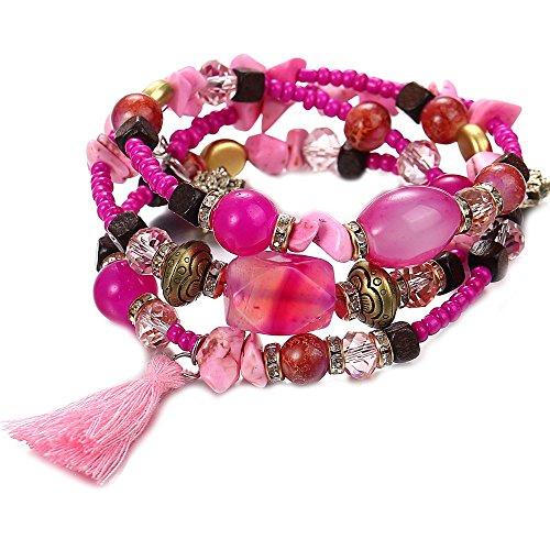 Onefeart Pulsera para Mujeres Chicas Especial Cut Ágata Señoras Estilo Diseño Multi-Layer Wristband Rosado