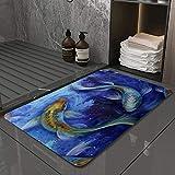 La Alfombra de baño es Suave y cómoda, Absorbente, Antideslizante,Japón Koi Pez Animales acuáticos Fauna Silvestre Carpa Oriental,Apto para baño, Cocina, Dormitorio (40x60 cm)
