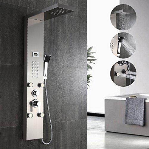 Auralum Elegante pannello in acciaio inox doccia con getti idromassaggio e cascata con inchiostro indicatore della temperatura dell'acqua display LCD. doccia a telefono
