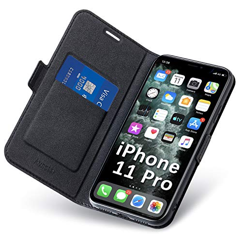 Funda iPhone 11 Pro, Fundas iPhone 11 Pro Libro, Carcasa 11Pro con Cierre Magnético, Tarjetero y Suporte, Capa iPhone11 Pro Plegable Cartera, Flip Phone Cover Case, Tipo Étui Piel Protección. Negro