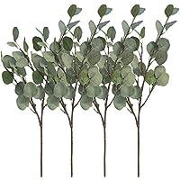 """Aisamco 4 Piezas Artificial Dólar de Plata Eucalipto Arbustos Aerosol en Gris Verde 25.5""""Tallo de Hoja de eucalipto Floral Tallo Artificial Arreglo Floral Inicio Fiesta Decoración de la Boda"""