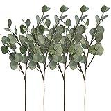 Aisamco Lot de 4 Branche de Feuilles d'Eucalyptus argenté 60 cm Plante Artificielle Fleur Artificielle Feuillage Artificiel pour fête, Mariage, décoration de la Maison