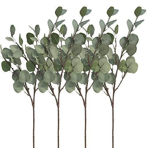 Aisamco 4 Stück Künstliche Silber Dollar Eukalyptus Büschen Spray in Grau Grün 25,5