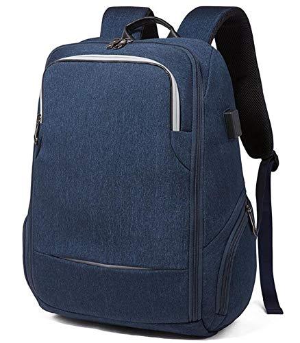 Business Computer Rucksack Reise-Laptop-Rucksack College-Schultasche Anti-Diebstahl-schlanker, robuster Laptop-Rucksack mit USB-Anschluss, Diebstahlschutzbeutel auf der Rückseite (Navy)