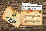 Invitaciones para fiesta de cumpleaños (10 unidades, incluye sobres, papel grueso de 300 gsm),...