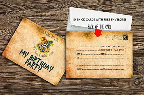 Invitaciones para fiesta de cumpleaños (10 unidades, incluye sobres, papel grueso de 300 gsm), diseño de Harry Potter, 10