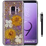 S9 Case, Galaxy S9 Case, iYCK Handmade [Real Dried Flower] Pressed Floral [Gold Foil Embedded] Bling Glitter Sparkle Flexible Soft Rubber TPU Back Cover Case for Samsung Galaxy S9 - Purple Gold