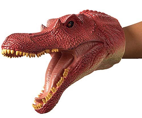 Gemini&Genius Spinosaurus Dinosaur Hand Puppets Large Soft Rubber Realistic Funny & Scared Dino Head Hand Puppets Home, Stage and Class Role Play Toy for Kids and Toddlers