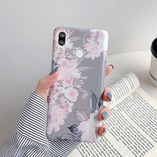 Herbests Kompatibel mit Huawei P20 Lite Hülle Glänzend Bunt Blumen Weich Silikon Handy Schutzhülle Ultra Dünn Handytasche Case TPU Silikon Hülle Case Tasche Rückseite Glitzer Hülle,Grau