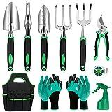 11 Pcs Garden Tools Set- Heavy Duty Aluminum Gardening Hand Tools with Garden Gloves,Trowel and Organizer Tote Bag, Vegetable Gardening Supplies Planting Tools, Outdoor Gardening Gifts for Women Men