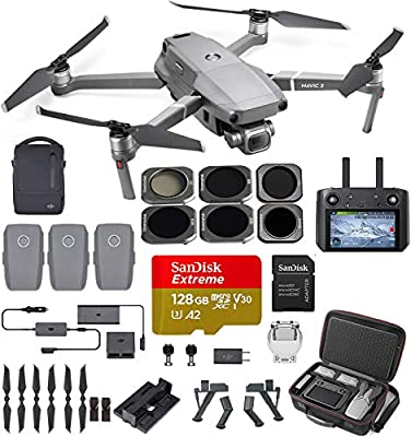 DJI Mavic 2 Pro (20 MP Hasselblad Camera) with Smart Controller and Fly More Kit Ultimate Bundle (3 Batteries, ND Filters, 128 GB Extreme Card, Charging Hub and More) by DJI