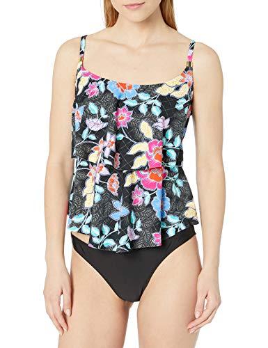 24th & Ocean Women's Plus Size 2-Tiered Ruffle Tankini Swimsuit Top, Black//Folk Garden Patch, 22W