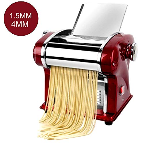 Automatic Pasta Maker for Spaghetti And Lasagna Tagliatelle Fettuccine, Electric Pasta Machine Spagetti, 304 Stainless Steel Pasta Maker with 1.5/4/9Mm Blades (220V),Red 2