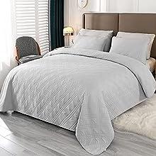Qucover Colcha para Cama y Sofá 170x210cm Cubrecama Pique Manta de Microfibra Acolchada Super Suave y Cómoda con 2 Fundas de Almohada para Dormitorio Hogar Hostelería