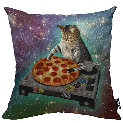Mugod Pizza Cat Decorative Throw Pillow Cover Case Delicious Food Hipster Cool Cat Galaxy Sparkling Stars Cotton Linen Pillow Cases Square Standard Cushion Covers for Couch Sofa Bed 18x18 Inch